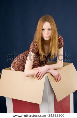 Young red-haired woman posing in cardboard box - stock photo
