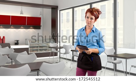 young red head waitress fed up with her job  - stock photo