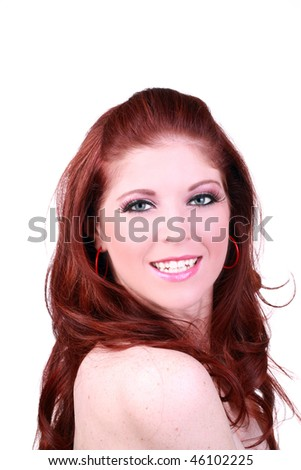 Young redhead caucasian woman smiling portrait bare