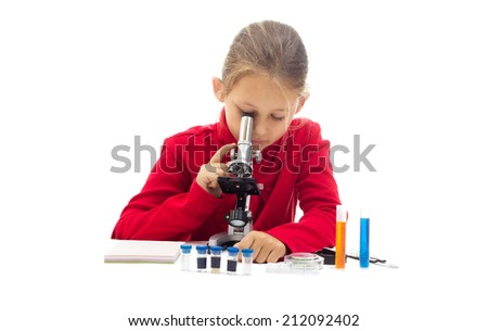 young researcher on a white background isolated