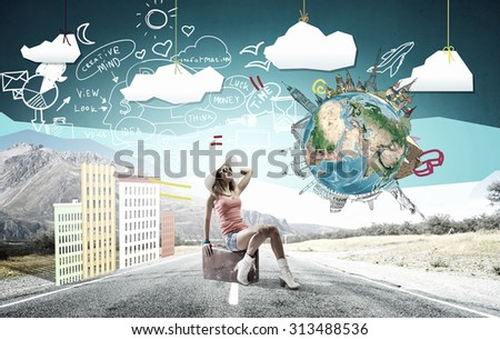Young retro woman waiting on road with her vintage baggage. Elements of this image are furnished by NASA - stock photo