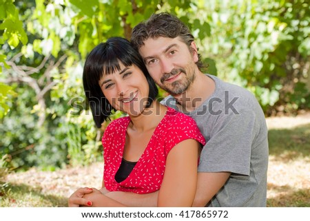 Young romantic couple in the park