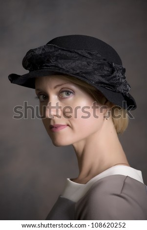 young romantiv woman in hat