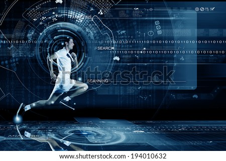 Young running man against digital media background - stock photo