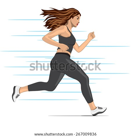 young running woman - stock photo