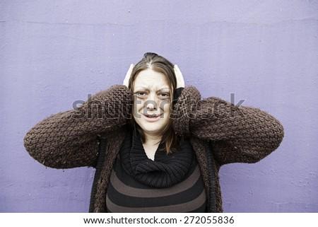 Young sad desperate urban street, depression - stock photo