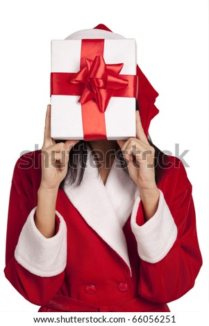 Young Santa covering her face by a gift box  isolated on white - stock photo
