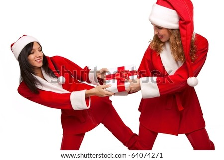 Young  Santas take from  each other a gift box isolated on white - stock photo