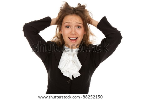 young scared, terrified businesswoman hold hands on head, isolated over white background - stock photo