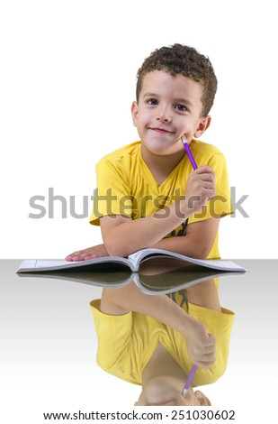 Young School Boy Thinking over White Background - stock photo