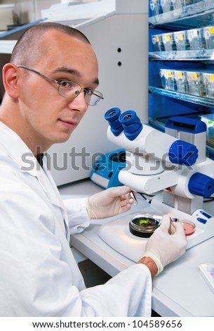 Young scientist dissects samples under binocular in modern laboratory - stock photo