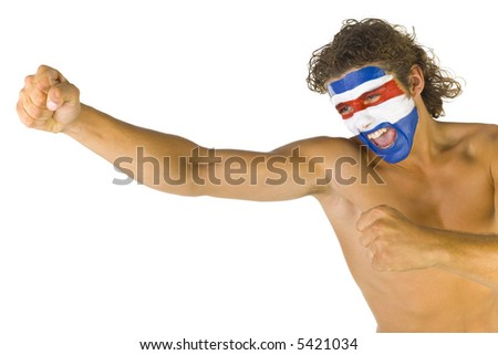 Young screaming and naked Paraguayan fan with painted flag on face. White background, side view - stock photo