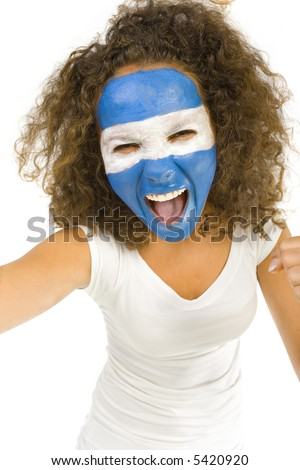 Young screaming Argentinian sport's fan with painted flag on face. Front view. Looking at camera, white background - stock photo
