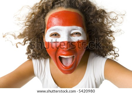 Young screaming Austrian sport's fan with painted flag on face. Front view. Looking at camera, white background - stock photo