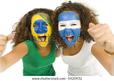 Young, screaming Brazilian and Argentinian  sport's fans with painted flags on faces and with clenched fists. Front view. Looking at camera, white background - stock photo