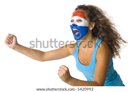 Young screaming Dutch or Paraguayan fan with painted flag on face. White background, side view - stock photo