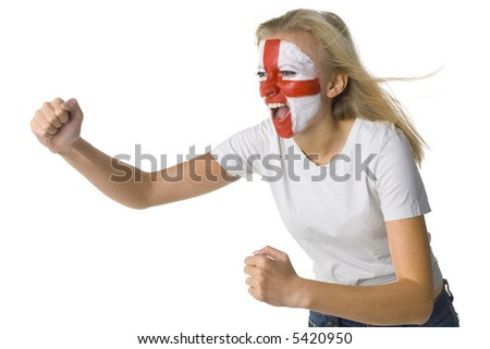 Young screaming English fan with painted flag on face. White background, side view - stock photo