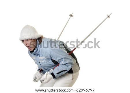young screaming female skier on white background - stock photo