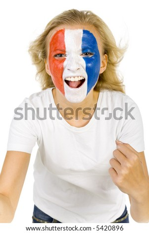 Young screaming French sport's fan with painted flag on face and with clenched fist. Front view. Looking at camera, white background - stock photo