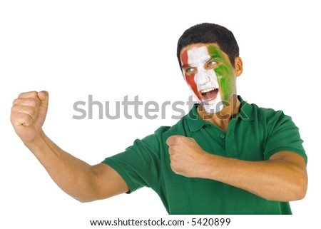 Young screaming Italian fan with painted flag on face. White background, side view - stock photo