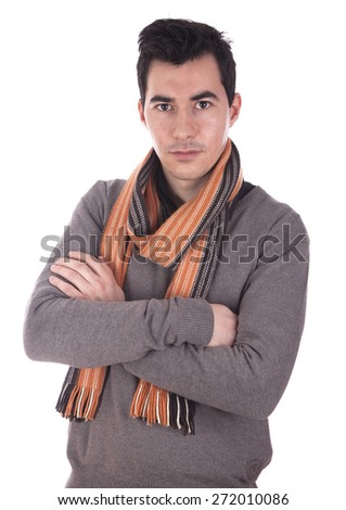 Young sensual man (young adult on thirties) isolated on white.