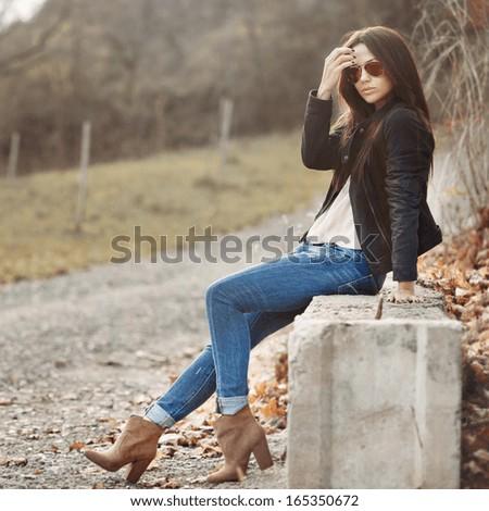Young sensual model female in sunglasses  - stock photo