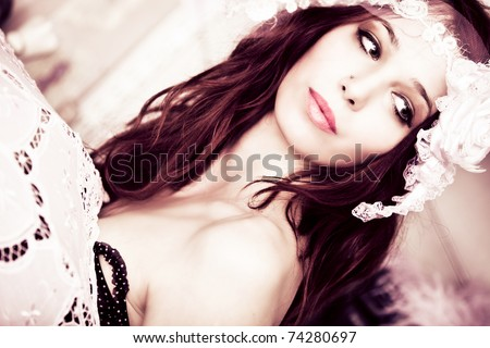 young sensual woman portrait indoor shot - stock photo