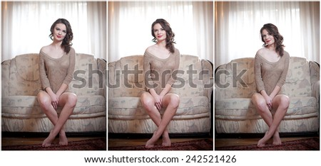 Young sensual woman sitting on sofa relaxing. Beautiful long hair girl with comfortable clothes daydreaming on the couch, alone. Attractive brunette wearing a tight fit short dress in cozy scenery - stock photo
