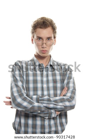 young serious man over white - stock photo
