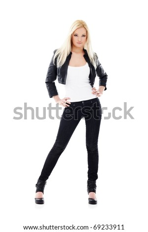 Young sexy blond woman in white shirt and  jeans isolated on white - stock photo