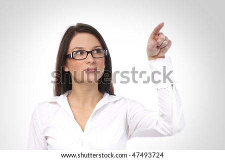 Young sexy business woman isolated over white background