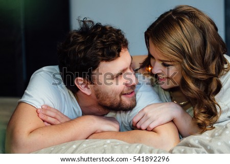 young sexy couple love lying bed stock photo 541892209 shutterstock. Black Bedroom Furniture Sets. Home Design Ideas