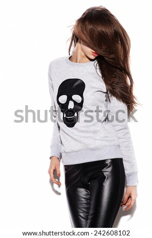 Young sexy girl. Indoor fashion portrait of young beautiful woman. White background, not isolated - stock photo
