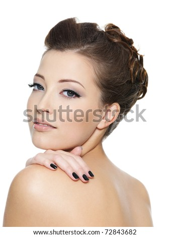 Young sexy girl with black nails and eye make-up - stock photo