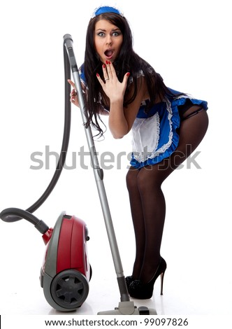 Young sexy housewife cleaner. Isolated over white. - stock photo