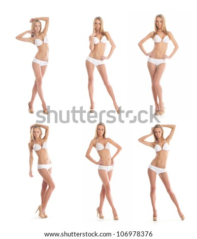 Young sexy lady in swimsuit isolated on white - stock photo