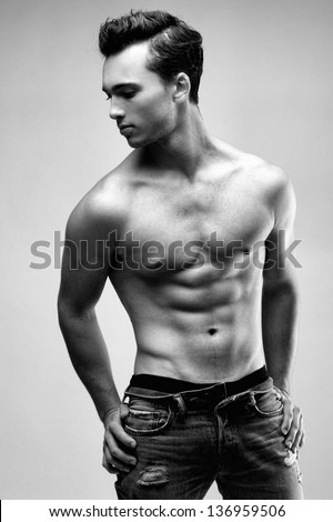 Young Sexy Male Model Posing Without Shirt