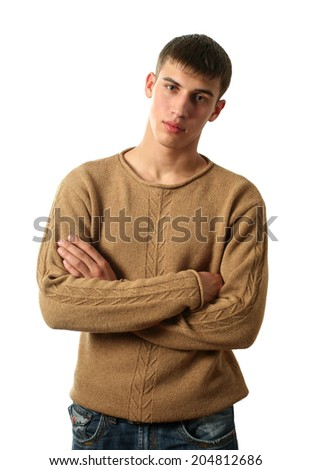 Young sexy man in yellow pullover isolated on white - stock photo