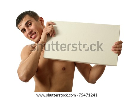 Young sexy man showing a copy space blank billboard isolated on white - stock photo