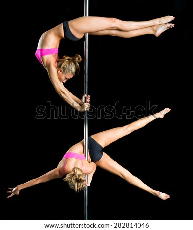 Young sexy pole dance woman. Collage