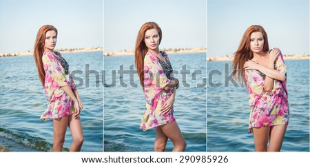 Young sexy red hair girl in multicolored blouse posing on the beach. Sensual attractive woman with long hair, summer shot at sea shore. Perfect body female, holiday concept turquoise water backgroud - stock photo