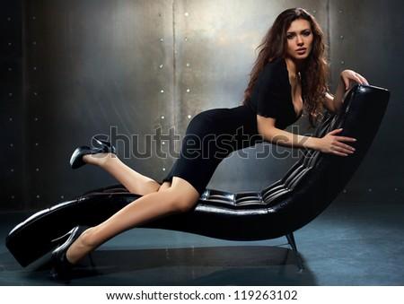 Young sexy woman fashion portrait. - stock photo
