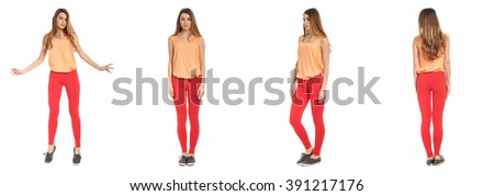 Young sexy woman in leggings isolated on white - stock photo