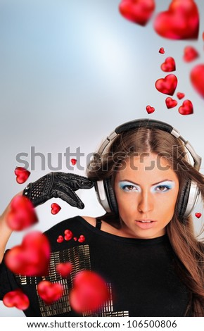 Young sexy woman in love and dancing. Red hearts flying around her. Hot passion music