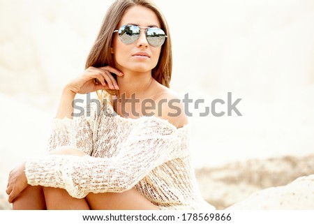 Young sexy woman on beach. - stock photo