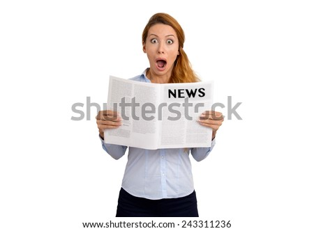 young shocked stunned funny looking woman reading newspaper isolated on white background. Human emotions face expression  - stock photo
