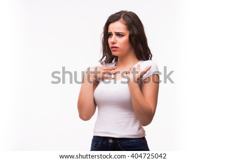 Young sick or cold girl feel bad againts white background - stock photo