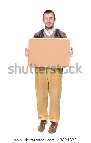 young silly adult man with corkboard. over white background
