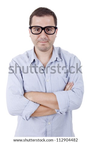 young silly casual man portrait, isolated on white - stock photo