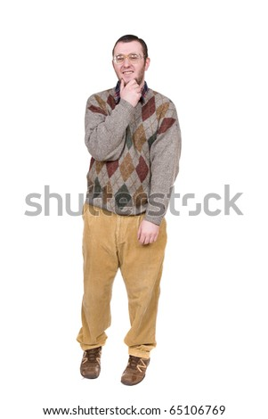 young silly man over white background - stock photo